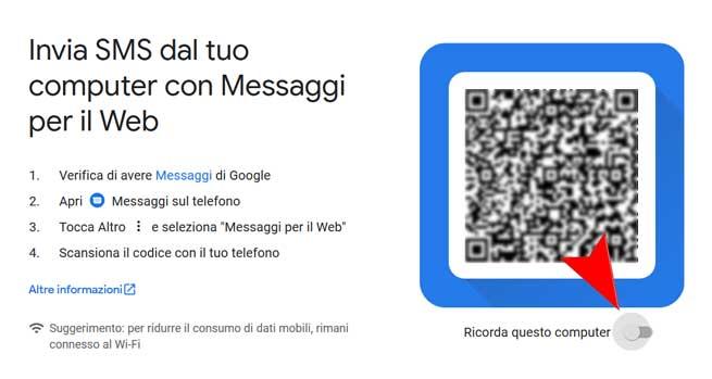 sms web con Android Messaggi