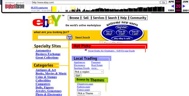 wayback machine - eBay nel 2000